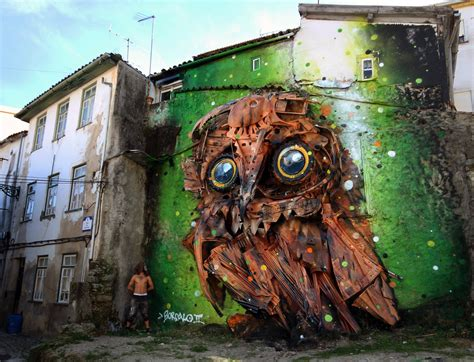 product of the streets trash and found objects transformed into birds by bordalo