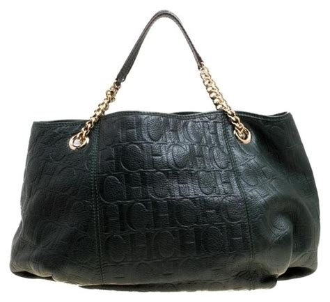 carolina herrera monogram poppy black leather hobo bag