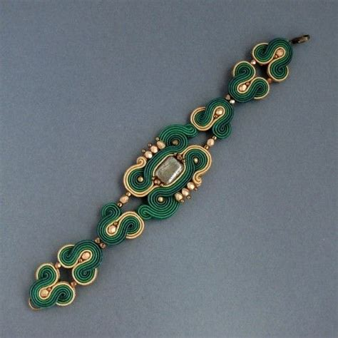 Pendant Bros Bulu Merak Embroidery emerald bransoletka sutasz soutache bracelet my