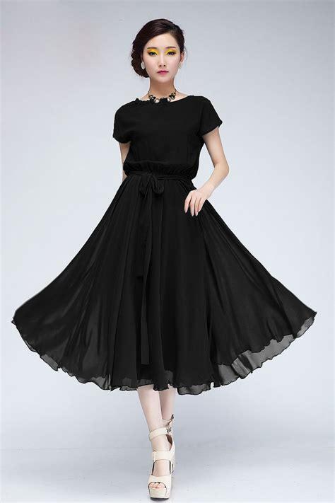 fashion pleated o neck sleeves black chiffon mid calf dress dresses lovelywholesale
