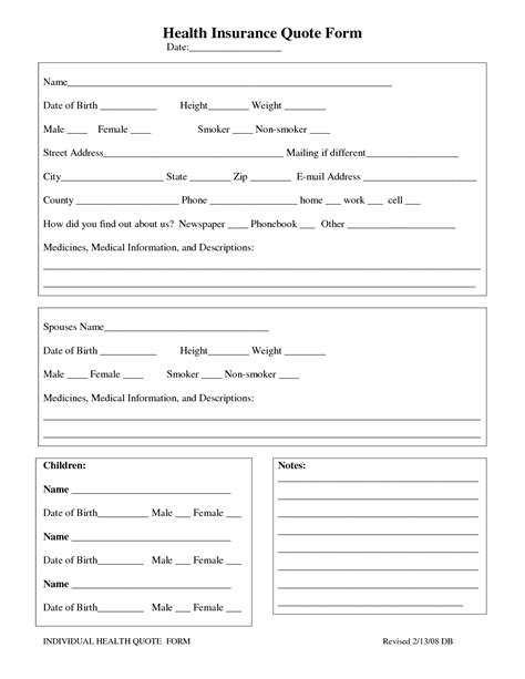 insurance quote form template best photos of quote form template free quote forms