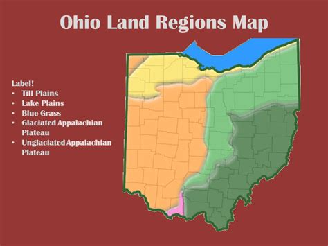 map of ohio regions the geography of ohio unit 1 lesson ppt