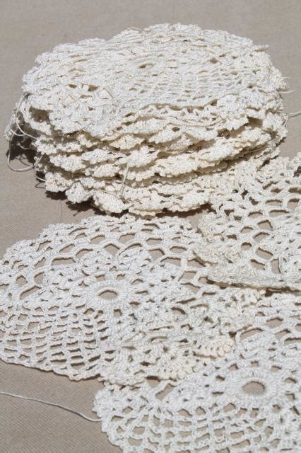 pattern of vintage crochet lace in an ecru color antique ecru cotton crochet lace doilies large lot