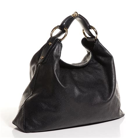 Gucci Chain Large Hobo by Gucci Guccissima Large Horsebit Chain Hobo Black 100536