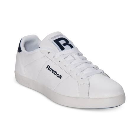 all white mens sneakers lyst reebok sh newport low casual sneakers in white for