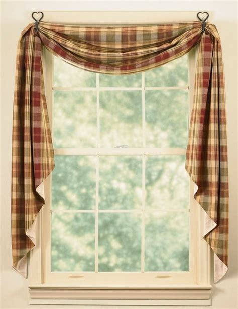 Swag Valances For Windows Designs Window Curtain Fishtail Swag Lined Saffron By Park Designs Burgundy Green Ebay