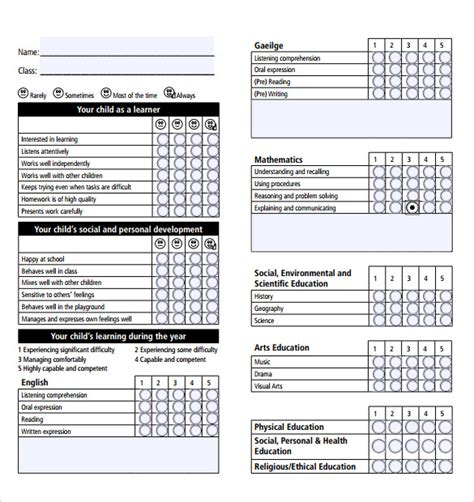6th Grade Report Card Template Homeschool by Report Card Template 28 Free Word Excel Pdf Documents