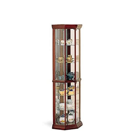 southern enterprises lighted corner curio cabinet in rich mahogany finish top 10 best corner curio cabinets 2016 home stratosphere