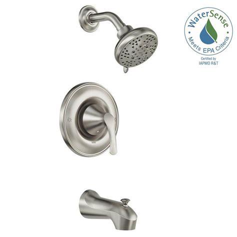 shop moen eva brushed nickel 1 handle single moen darcy single handle 5 spray tub and shower faucet