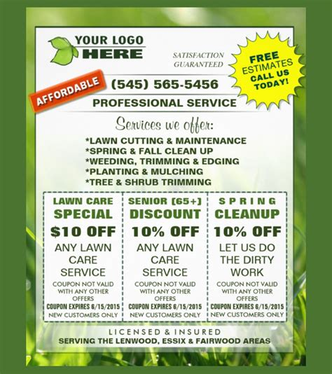 lawn card flyer template free 20 coupon flyer templates free sle exle format