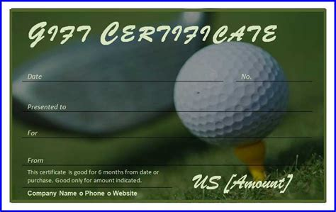 Golf Gift Card Template by Golf Gift Certificate Template Ms Word Templates Ms