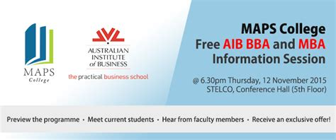 Aib Mba Course Fees by Free Aib Bba And Mba Information Session Maps College
