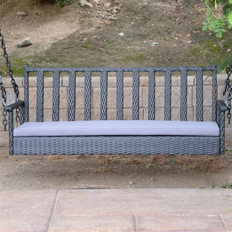 porch swing hanger black 60 5 quot patio porch swing chair bench resin wicker