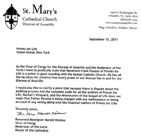 Bank Letter Of Financial Standing Diocese Of Amarillo Backing Claims Against Pavone A For Dallas Area Catholics
