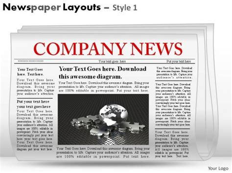 Newspaper Layouts Style 1 Powerpoint Presentation Slides Powerpoint Newspaper