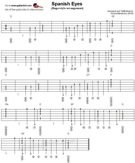 clases de guitarra ojos espa 209 oles tab fingerstyle