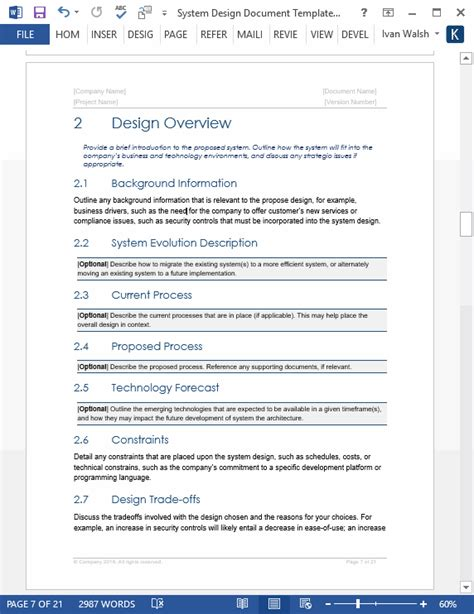 system design document templates requirements