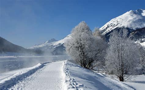 rzeka gory droga zima