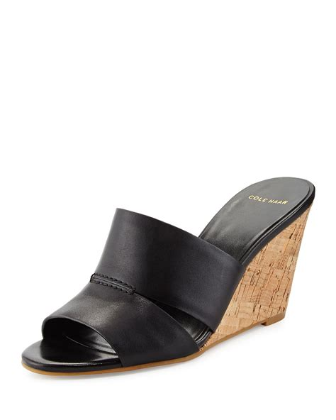 Wedges Shoes Slip On Gucci Sds175 lyst cole haan acoma slip on cork wedge sandal in black