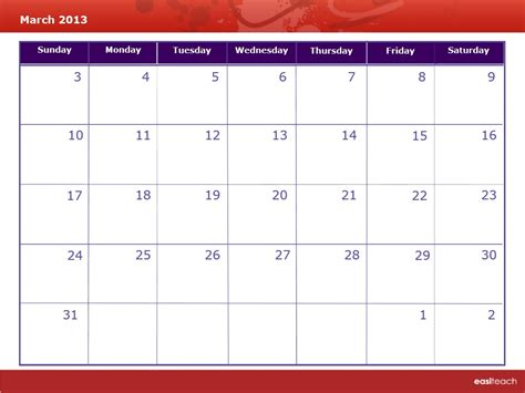 March 2013 Calendar Template Calendar March 2013 Rm Easilearn Us