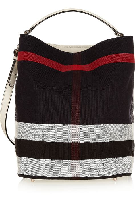 burberry checked canvas hobo bag in lyst