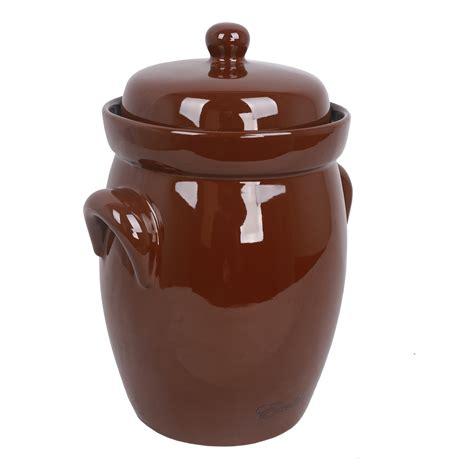 10 liter capacity ceramic fermentation crock pot excalibur emcp5 5 liter capacity ceramic fermentation