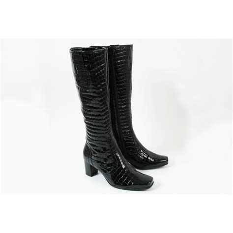 gabor knightsbridge patent leather boot in