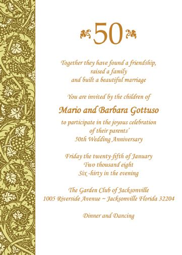 50th birthday program template personalized 50th wedding anniversary invitations ap 011