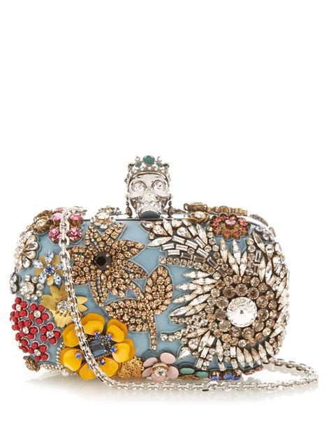 7 Accessories By Mcqueen by Mcqueen Skull Embellished Box Clutch