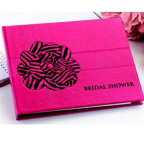 Bridal Shower Guest Book by Pink Zebra Print Bridal Shower Guest Book