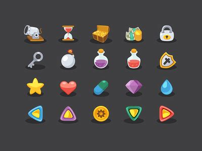 design elements for games basic game elements icons by sunbzy dribbble