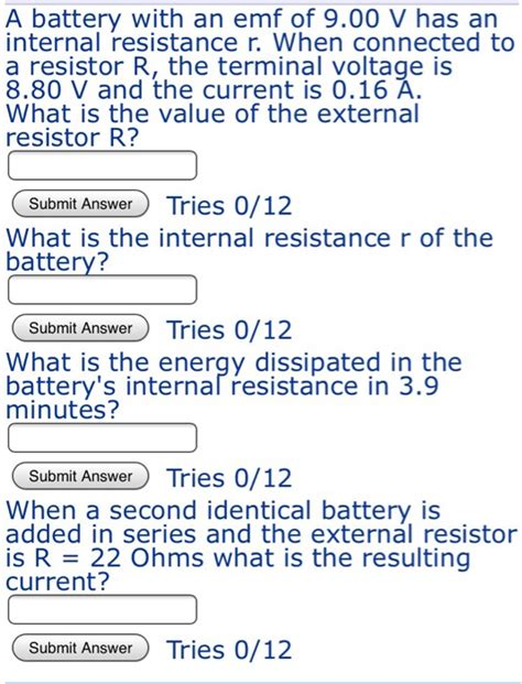 what is the value of resistor r in the figure figure 1 if δv 5v and i 5a a battery with an emf of 9 00 v has an re chegg