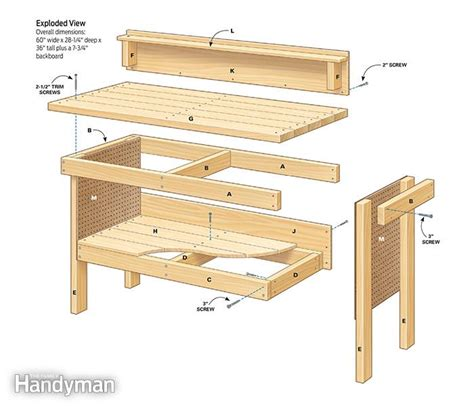 plans for wooden work bench classic diy workbench plans the family handyman