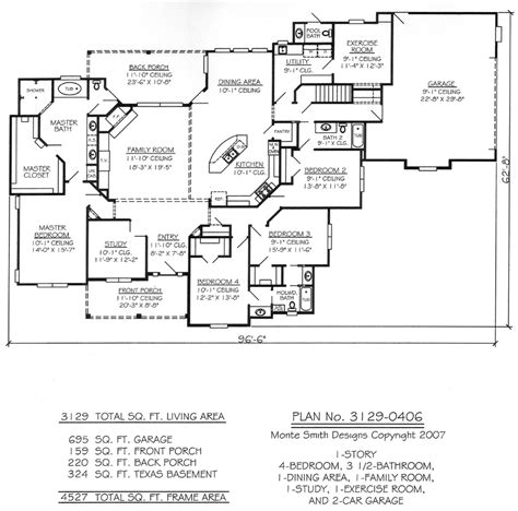 Single Story 4 Bedroom House Plans One Story Four Bedroom House Plans Story 4 Bedroom 3 5 Bathroom 1 Dining Room 1 Exercise