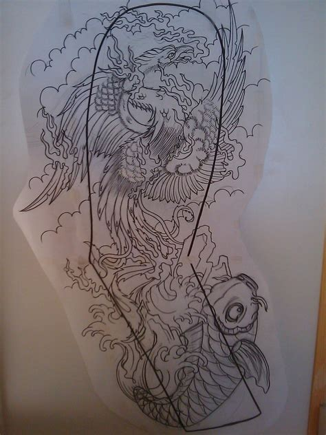 japanese phoenix full sleeve by dude skinz tattooing on