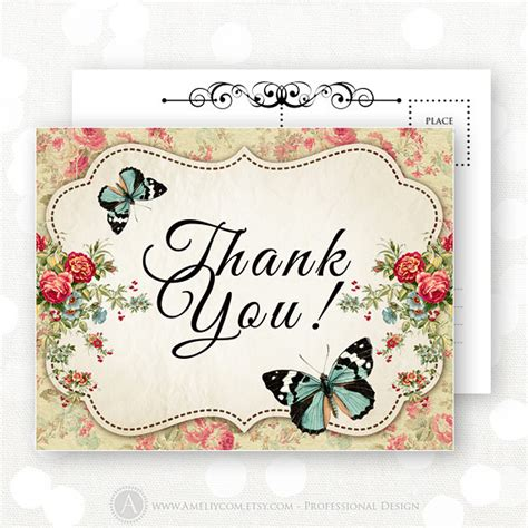 hp printable thank you cards printable thank you cards instant download vintage flowers