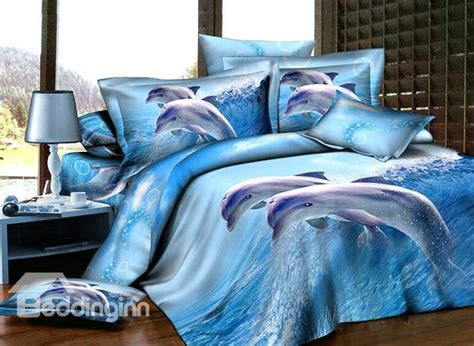 Blue Dolphins Reactive Printing 4 Piece Cotton Duvet Cover