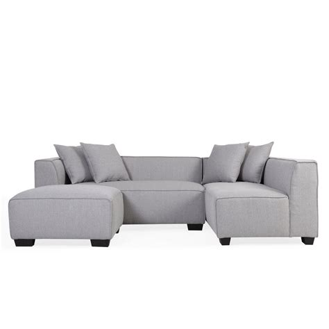 Grey Linen Sectional Sofa by Handy Living Dove Gray Linen Sectional Sofa With