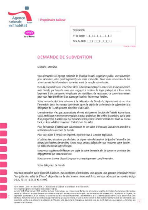 Demande De Subvention Lettre Demande De Subvention Anah Formulaire Cerfa Documentissime