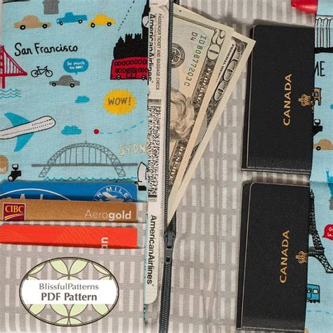 passport holder pattern sewing family size passport travel holder pdf sewing pattern