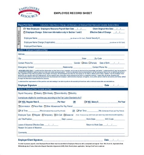 Employee Record Templates 26 Free Word Pdf Documents Download Free Premium Templates Employee Record Template