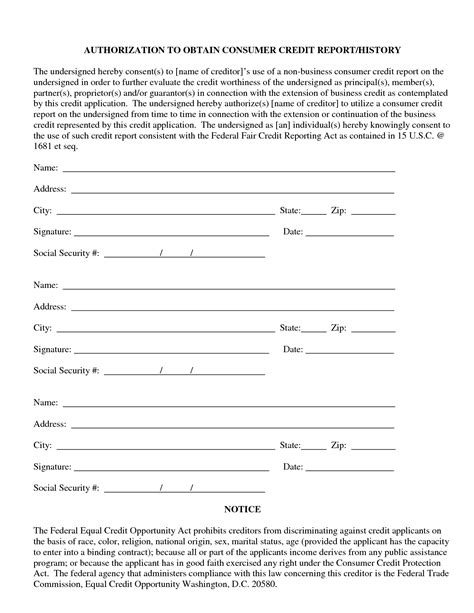 credit report authorization form template credit report template 28 images 6 transunion credit