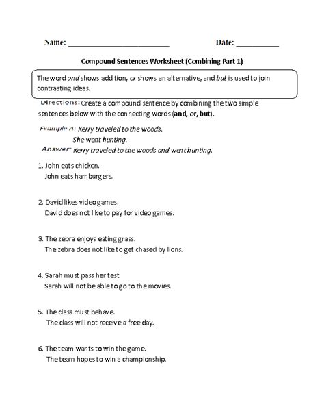 Sentence Combining Worksheet by Combining With Compound Sentences Worksheet Part 1