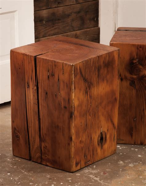 Wood Block Side Tables Rustic Living Room Vancouver