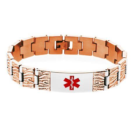 html pattern alert rose gold tree design medical id bracelet