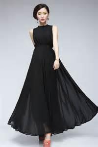 elegant fashion summer long dresses pleated black gown