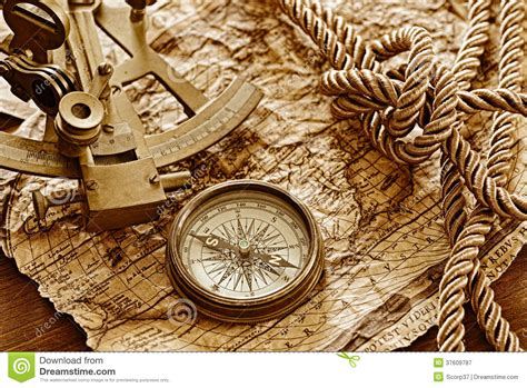 old boat compass vintage marine still life stock image image of brown