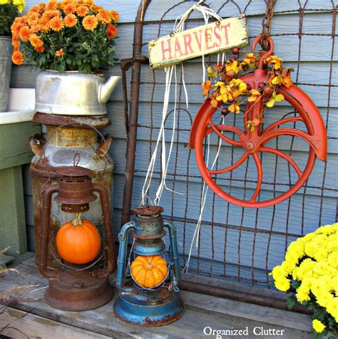 Orange Patio Accessories An Orange Pulley Fall Wreath More Outdoor Junk Decor