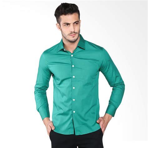 jual vm kemeja formal polos slimfit panjang kemeja pria hijau harga kualitas