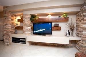 media walls media wall w alder beams and stone columns contemporary living room phoenix by native